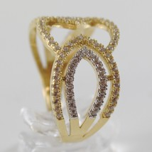 White Gold Ring and Yellow 750 18k, fascia, Pavé Zirconia, Made in Italy image 2