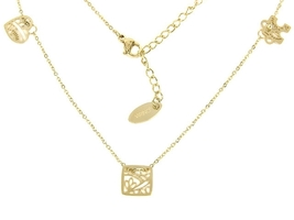 Triple charm delicate and dainty gold chain necklace - $26.00