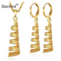 Scroll Style Pendant Necklace Drop Earrings Set Jewelry Women Fashion Cr... - $12.90