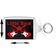 keyring double sided ,little rock crossed guitars new keychain key ring
