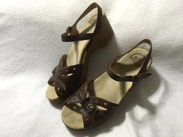 Dansko 42 11.5 12 Brown Leather Sissy Sandals Strappy Buckle Clogs Shoes - $36.99