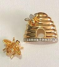 Joan Rivers Signed Bee Hive & Bee Rhinestone Crystal Gold Tone Brooche &... - $37.62