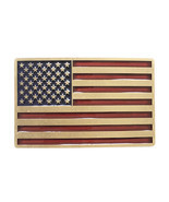 New Vintage Bronze Plated Enamel USA American Flag Belt Buckle Gurtelsch... - £6.75 GBP