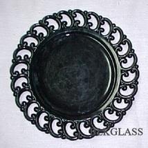 Ebony Black Amethyst Glass Border Plate Backward C - $25.98