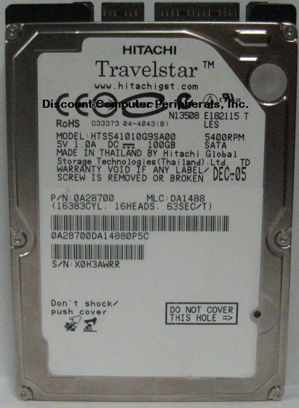 "NEW 100GB 2.5"" 9.5MM SATA Hard Drive Hitachi HTS541010G9SA00 Free USA Shipping"