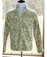 Patagonia Medium Floral Print Fleece Pullover Snap Button Green Jacket (AS) - $85.49