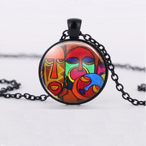 Artistic Tribal Masks Cabochon Necklace >> Combine Shipping << ( - $3.71