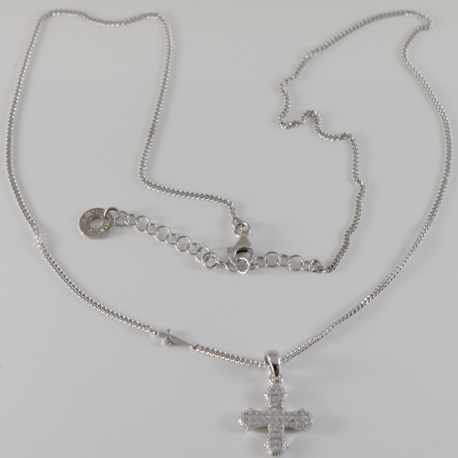 925 STERLING SILVER NECKLACE BY CESARE PACIOTTI, CROSS PENDANT, SWORD CURB CHAIN