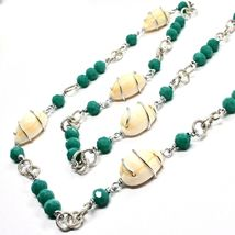 NECKLACE THE ALUMINIUM LONG 90 CM WITH SHELL AND CRYSTALS STRASS GREEN image 3
