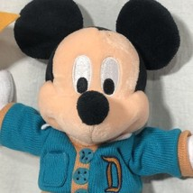 Mickey Mouse Plush Doll Disneyland Parks Blue Lettermans Sweater Holding... - $31.14