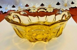Vintage Amber 6.5 Inch Glass Candy Nut Bowl Thumbprint Design with Scalloped Rim