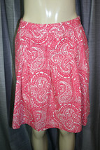 GAP Sz 0 Pink White Paisley Print Pleated A-Line Casual Cotton Skirt - $14.84