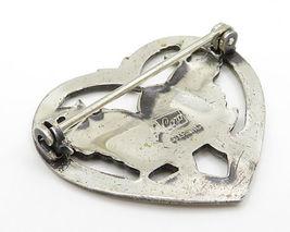 CORO 925 Sterling Silver - Vintage Baby Bird Open Love Heart Brooch Pin - BP2011 image 3