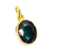 fine Indian Emerald Gold Plated Green Pendant genuine jewelry US gift - $9.89
