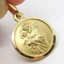 18K YELLOW GOLD ST SAINT SAN GIUSEPPE JOSEPH JESUS MEDAL MADE IN ITALY, 13 MM image 4