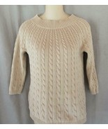 Talbots sweater pullover Petite beige cable knit 3/4 raglan sleeves Blac... - $9.75