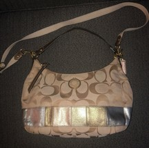 Coach Beige Signature Print Shoulder Bag With Leather Metallic Trim F19283 - $39.99