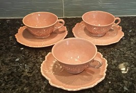 Lot of 3 Woodfield Steubenville CORAL Leaf Pattern Coffee Tea Cup & Saucers - $29.70