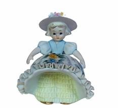 Lefton Figurine vtg Japan sculpture girl flower dress up porcelain decor... - $39.55