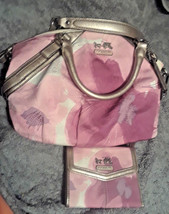 Coach Madison Pink Floral Handbag 17002 & Matching Wallet 45598 Used Once - $300.00