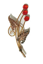 Art Deco I. Michelson 1/20 12k GF Ruby Red Rhinestone Flower Brooch Pin ... - $32.99