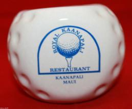 Signed Royal Kaanapali Restaurant Maui White Golf Ball Shaped Bowl Cup H... - $35.75
