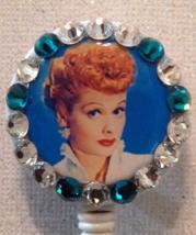 I Love Lucy Badge Reel Id Holder Swarovski Crystals Alligator Clip Teal New - $9.95