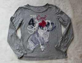 Childrens Place Girls Top Size M 7 8 Gray Too Cool 4 School Pug Puppy Sh... - $15.83