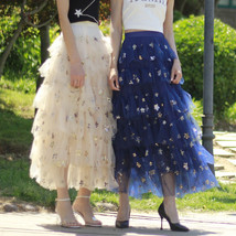Layered Tulle Midi Skirt Champagne Navy Tulle Ruffle Skirt Gold Star Deco image 1