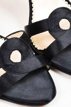 37 Heel La Sandal Black 5 Oscar Renta De Slingback SZ Satin z6OYqw