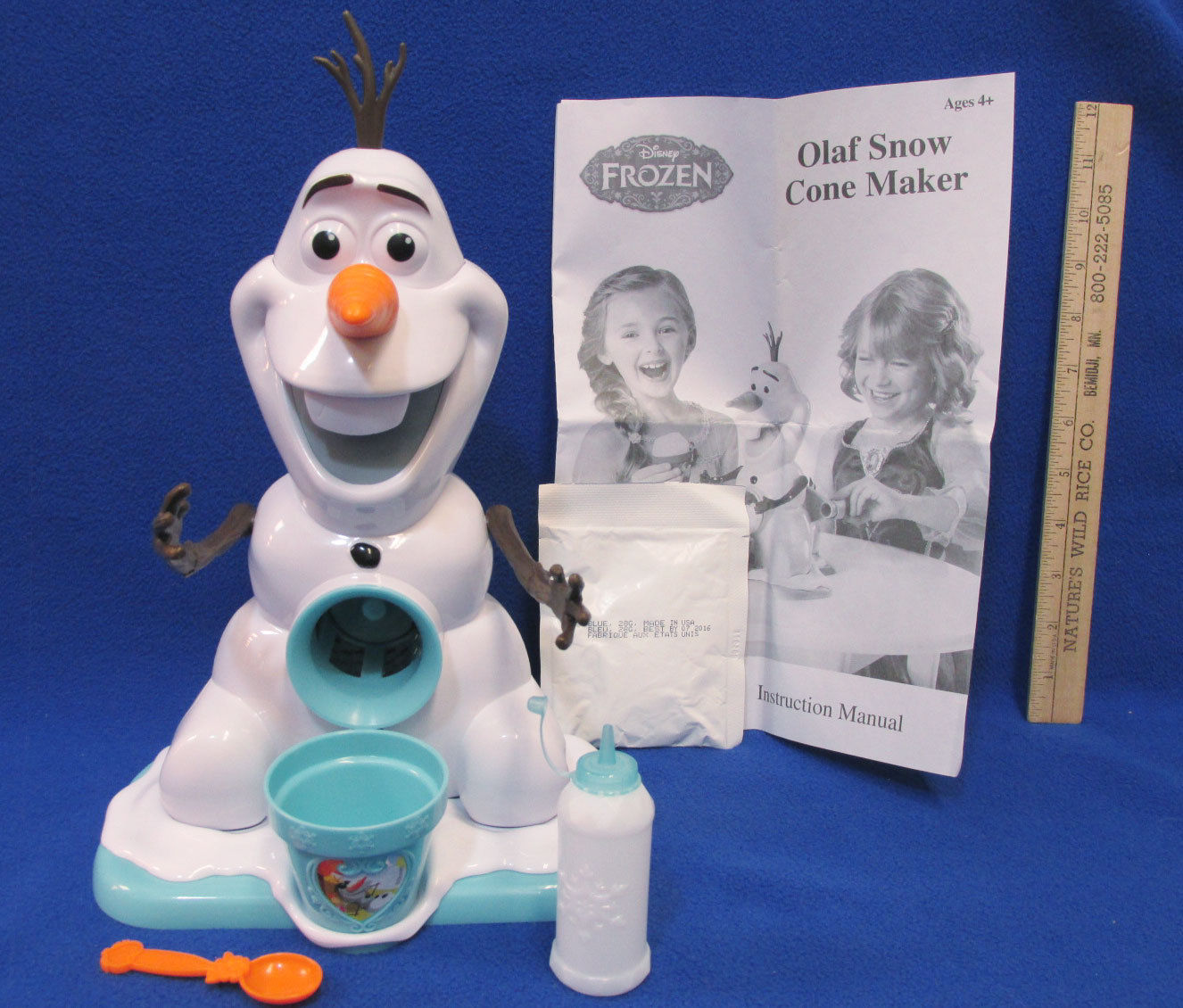 Disney Frozen Olaf Snow Cone Maker Plastic Syrup Bottle Cup Spoon & A Mix Lot 5 - $15.98