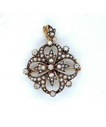 14k Yellow Gold Victorian Diamond and Pearl Pin Pendant (#J4943) - $643.50