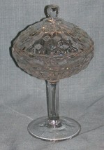 Vintage Fostoria AMERICAN Covered Pedestal Bowl /Compote w Lid-Clear Cubist EUC - $10.95
