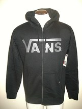 Vans Shoes Mens Classic Zipper hoodie Sweatshirt Classic Black Grey Logo... - $44.99