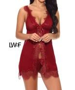 Eyelash Lace Trim Dress With Thong - $35.99+