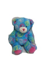 Build A Bear Workshop Light Blue Peace Sign Bear Pink Paws Stuffed Animal BABW - $16.65