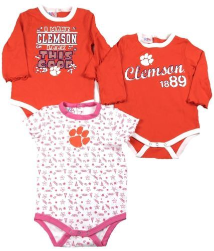 Clemson Tigers 18 Months Infant Girl's Bodysuit Set of 3 Baby Rompers Tee Shirts