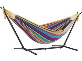 Vivere Double Hammock with Space-Saving Steel Stand, Tropical - $110.49