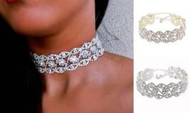 FLOWER RHINESTONE CHOKER DIAMOND SPARKLING WRAP CRYSTAL  WEDDING BEACH N... - $16.99