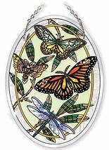 "Butterfly Dragonfly Sun Catcher AMIA Beveled Glass 7""x5"" Oval Butterflies  - €24,34 EUR"