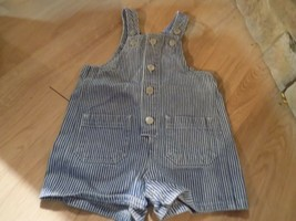 Infant Size 12 Months Class Club Blue White Striped Denim Shortalls Over... - $12.00