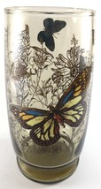 Libbey Amber Butterfly Tumbler Glass 6 Inches Tall Textured Vintage - $7.38