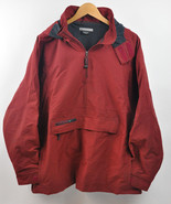 Men's VTG NIKE 1/4 Zip Lined PULLOVER Jacket Brick Red Ripstop Nylon Hoo... - $34.65