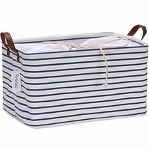 Hinwo 31L Large Capacity Storage Basket Canvas Fabric Storage Bin Collap... - $19.58