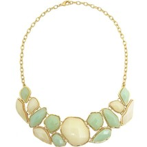 "Karine Sultan Green & Cream Resin Bead Bib Statement Necklace 24k Gold-Plate 19"" - $62.36"