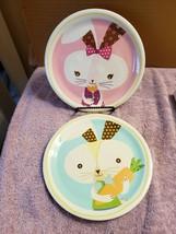 2 Melamine Salad Dessert Plates White Bunny Rabbits Easter One Girl One Boy - $19.80
