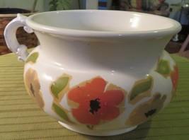 "HOMER LAUGHLIN Planter or Bowl 8"" Diameter 5"" Tall White w Handle Floral... - $28.76"