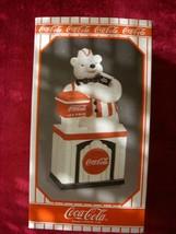 NIB Coca Cola brand soda fountain jerk 1999 cookie jar polar bear @ COKE... - $39.99