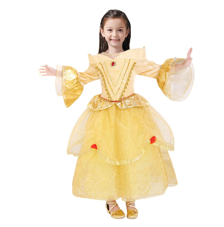 Beauty and beast cosplay dresses for girls belle princess kids girls costume dress christmas  4