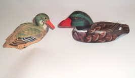 2 Vtg Wood Hand Carved Hand Painted Duck Glass Eye Small woodland handcrafted   image 1